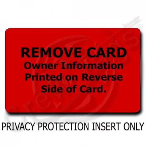 PRIVACY PROTECTION LUGGAGE TAG - RED INSERT ONLY