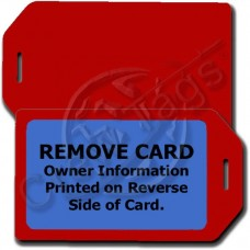 PERSONLAIZED PRIVACY PROTECTION LUGGAGE TAG - RED WITH BLUE INSERT