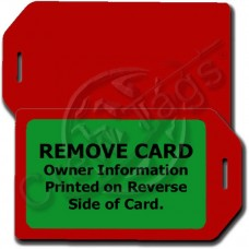 PRIVACY PROTECTION LUGGAGE TAG - RED CASE WITH GREEN INSERT