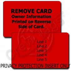 PERSONALIZED PRIVACY PROTECTION LUGGAGE TAG - RED INSERT ONLY