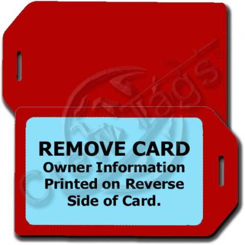 PERSOANLZIED PRIVACY PROTECTION LUGGAGE TAG - RED CASE WITH LIGHT BLUE INSERT