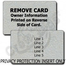 PRIVACY PROTECTION LUGGAGE TAG - SILVER INSERT ONLY