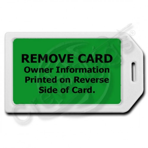 PRIVACY PROTECTION LUGGAGE TAG - WHITE WITH GREEN INSERT