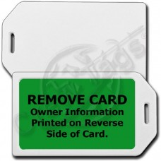 PRIVACY PROTECTION LUGGAGE TAG - WHITE CASE WITH GREEN INSERT