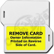 PRIVACY PROTECTION LUGGAGE TAG - WHITE CASE WITH YELLOW INSERT