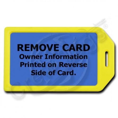 PRIVACY PROTECTION LUGGAGE TAG - YELLOW CASE WITH BLUE INSERT
