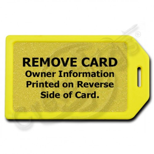 PRIVACY PROTECTION LUGGAGE TAG - YELLOW CASE WITH GOLD INSERT