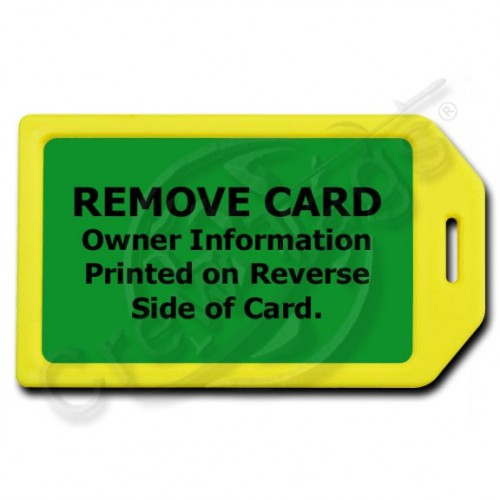 PRIVACY PROTECTION LUGGAGE TAG - YELLOW CASE WITH GREEN INSERT