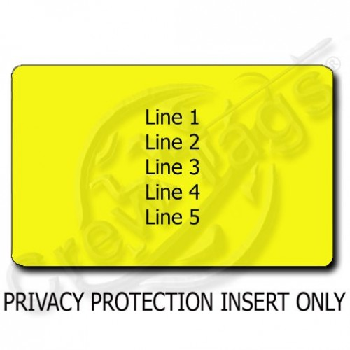 PRIVACY PROTECTION PERSONALIZED LUGGAGE TAG - YELLOW INSERT ONLY