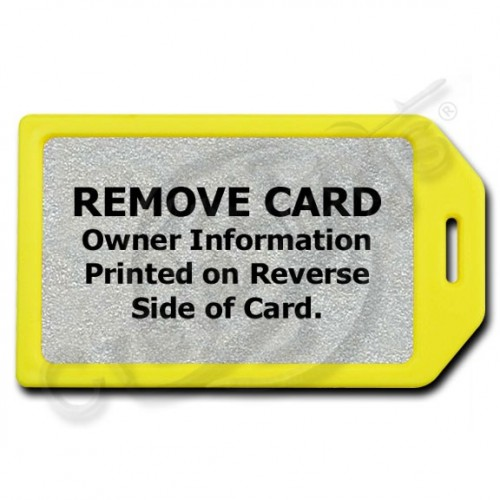 PRIVACY PROTECTION LUGGAGE TAG - YELLOW CASE WITH SILVER INSERT