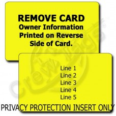 PERSONALIZED PRIVACY PROTECTION LUGGAGE TAG - YELLOW INSERT ONLY