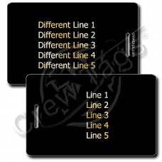PERSONALZED BLACK PLASTIC LUGGAGE TAG - GOLD INK - DIFFERENT EACH SIDE