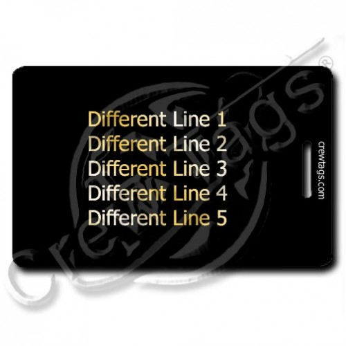 PERSONALIZED BLACK PLASTIC LUGGAGE TAG - GOLD INK - DIFFERENT EACH SIDE