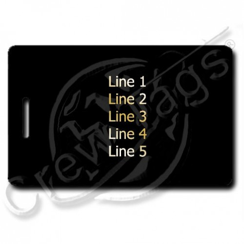 BLACK PLASTIC LUGGAGE TAG - GOLD INK - DIFFERENT EACH SIDE