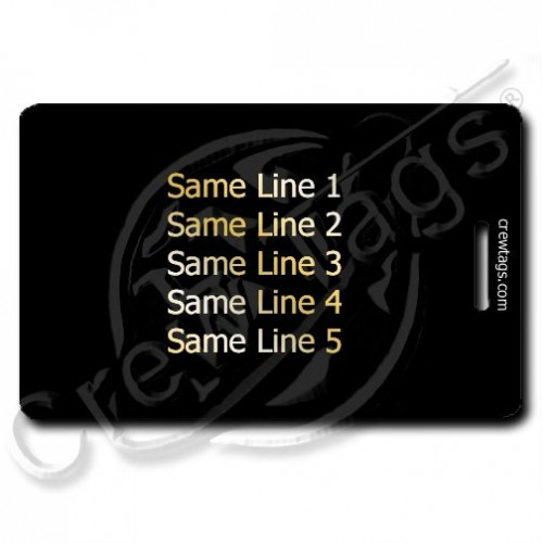 PERSONALIZED BLACK PLASTIC LUGGAGE TAG - GOLD INK - SAME BOTH SIDES