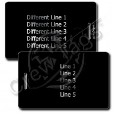 BLACK PLASTIC LUGGAGE TAG - SILVER INK - DIFFERENT EACH SIDE