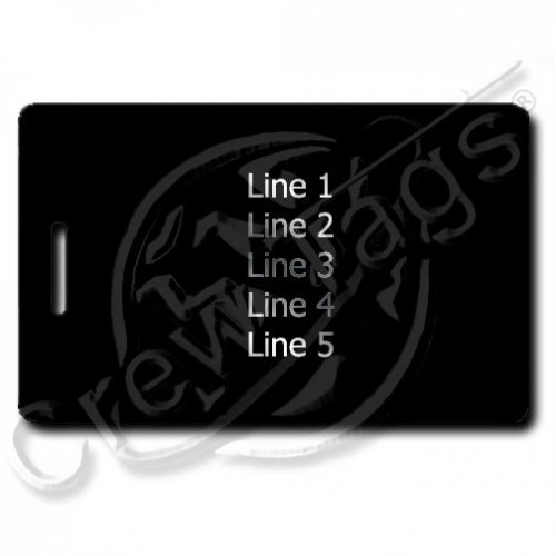 BLACK PLASTIC LUGGAGE TAG - SILVER INK - SAME BOTH SIDES