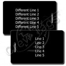PERSONALIZED BLACK PLASTIC LUGGAGE TAG - WHITE INK - DIFFERENT EACH SIDE