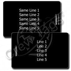PERSONALIZED BLACK PLASTIC LUGGAGE TAG - WHITE INK - SAME BOTH SIDES