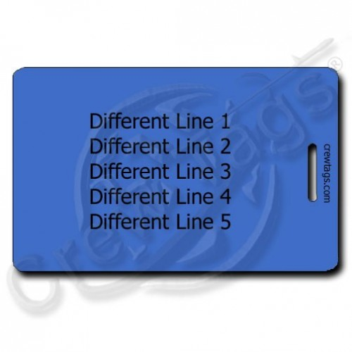 PERSONALIZED BLUE PLASTIC LUGGAGE TAG - DIFFERENT EACH SIDE