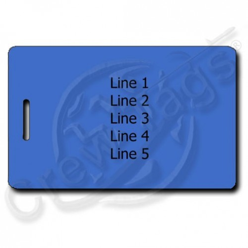 BLUE PLASTIC LUGGAGE TAG - DIFFERENT EACH SIDE