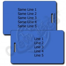 PERSONALIZED BLUE PLASTIC LUGGAGE TAG - SAME BOTH SIDES