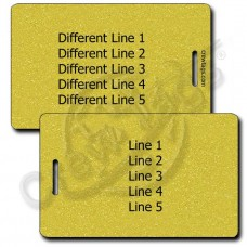 PERSONALIZED METALLIC GOLD PLASTIC LUGGAGE TAG - DIFFERENT EACH SIDE