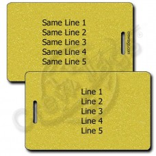 PERSONALIZED METALLIC GOLD PLASTIC LUGGAGE TAG - SAME BOTH SIDES