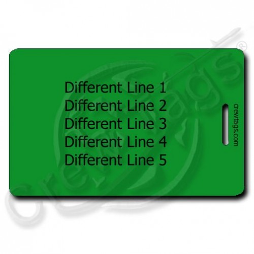 GREEN PLASTIC PERSONALIZED LUGGAGE TAG - DIFFERENT EACH SIDE