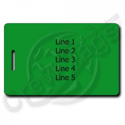 GREEN PLASTIC LUGGAGE TAG - DIFFERENT PERSONALIZATION EACH SIDE