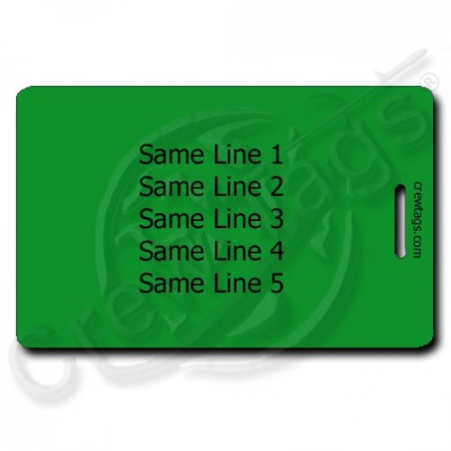 GREEN PLASTIC LUGGAGE TAG - SAME PERSONALIZATION BOTH SIDES