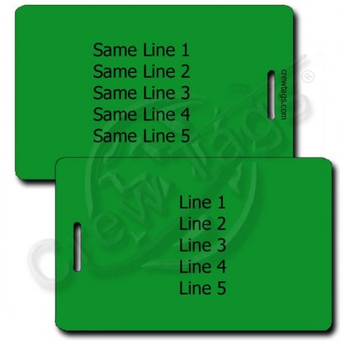 PERSONALIZED GREEN PLASTIC LUGGAGE TAG - SAME BOTH SIDES
