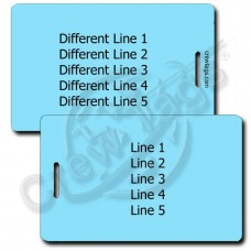 PERSONALIZED LIGHT BLUE PLASTIC LUGGAGE TAG - DIFFERENT EACH SIDE