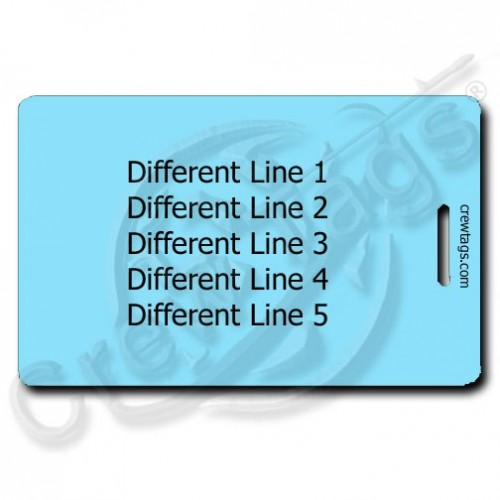 LIGHT BLUE PLASTIC LUGGAGE TAG - DIFFERENT PERSONALIZATION EACH SIDE