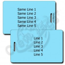 LIGHT BLUE PLASTIC LUGGAGE TAG - SAME BOTH SIDES