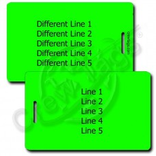 NEON GREEN PLASTIC LUGGAGE TAG - DIFFERENT EACH SIDE