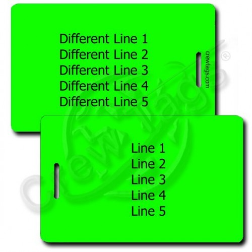 PERSONALIZED NEON GREEN PLASTIC LUGGAGE TAG - DIFFERENT EACH SIDE