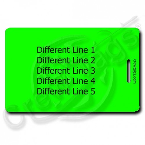 PERSONALIZED FLUORESCENT GREEN PLASTIC LUGGAGE TAG - DIFFERENT EACH SIDE