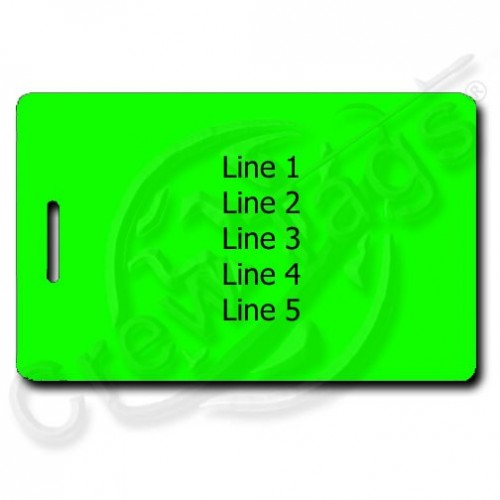 NEON GREEN PERSONALIZED LUGGAGE TAG