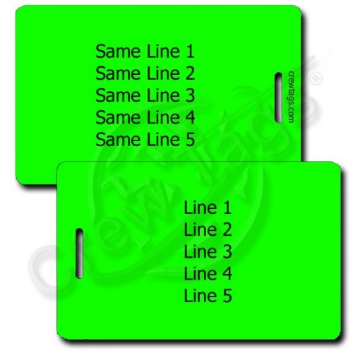PERSONALIZED NEON GREEN PLASTIC LUGGAGE TAG - SAME BOTH SIDES