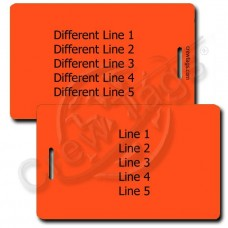 NEON ORANGE PLASTIC LUGGAGE TAG - DIFFERENT EACH SIDE