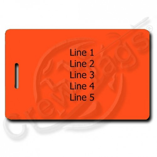 neon orange personalized luggage tags