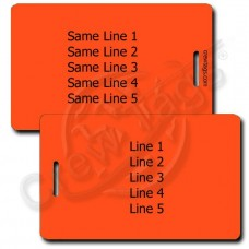 NEON ORANGE PLASTIC LUGGAGE TAG - SAME BOTH SIDES