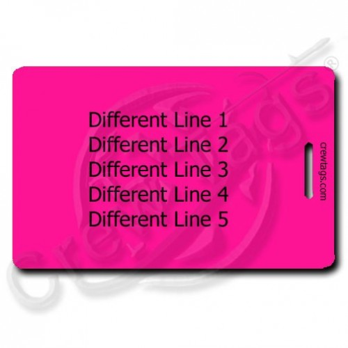 personalized fluorescent pink luggage tag