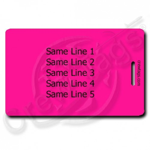 fluorescent pink personalized luggage tag