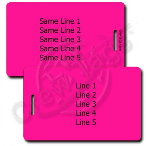 PERSONALIZED NEON PINK PLASTIC LUGGAGE TAG - SAME BOTH SIDES
