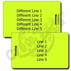 PERSONALIZED NEON YELLOW PLASTIC LUGGAGE TAG - DIFFERENT EACH SIDE