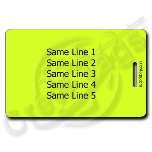fluorescent yellow personalized luggage tag