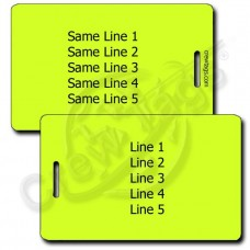 PERSONALIZED NEON YELLOW PLASTIC LUGGAGE TAG - SAME BOTH SIDES