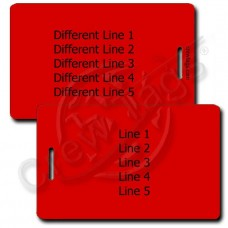 PERSONALIZED RED PLASTIC LUGGAGE TAG - DIFFERENT EACH SIDE
